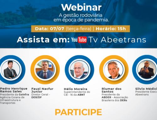 A gestão das rodovias será tema de uma videoconferência da Abeetrans em parceria com a ABDER